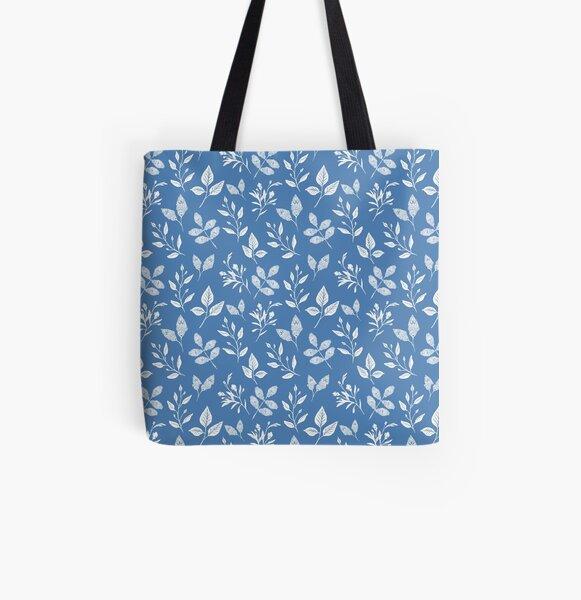 Ornate Blue Leaf Pattern All Over Print Tote Bag