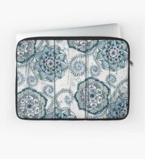 Shabby Chic Navy Blue doodles on Wood Laptop Sleeve