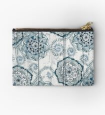 Shabby Chic Navy Blue doodles on Wood Studio Pouch
