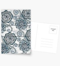Shabby Chic Navy Blue doodles on Wood Postcards