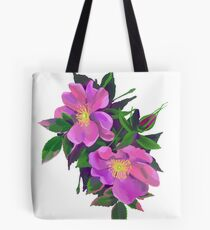Dog rose draw digitally in oil technique  Tote Bag