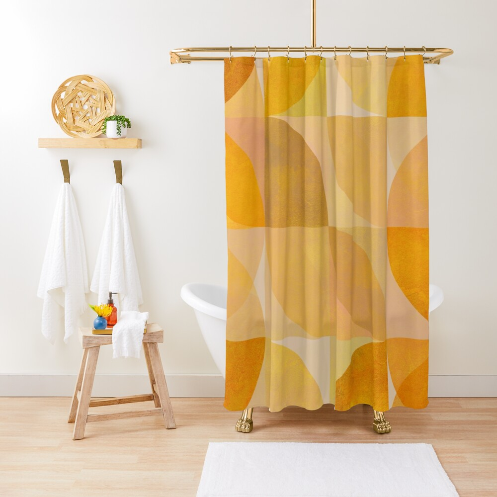 golden mid century geometry Shower Curtain