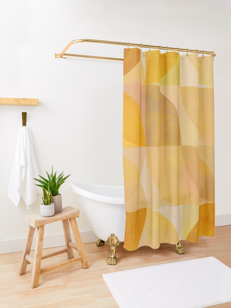 Alternate view of golden mid century geometry Shower Curtain