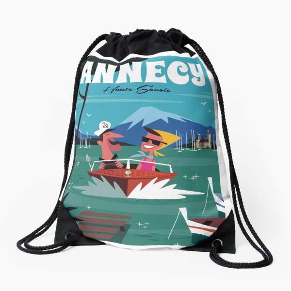 Lac Annecy poster Drawstring Bag