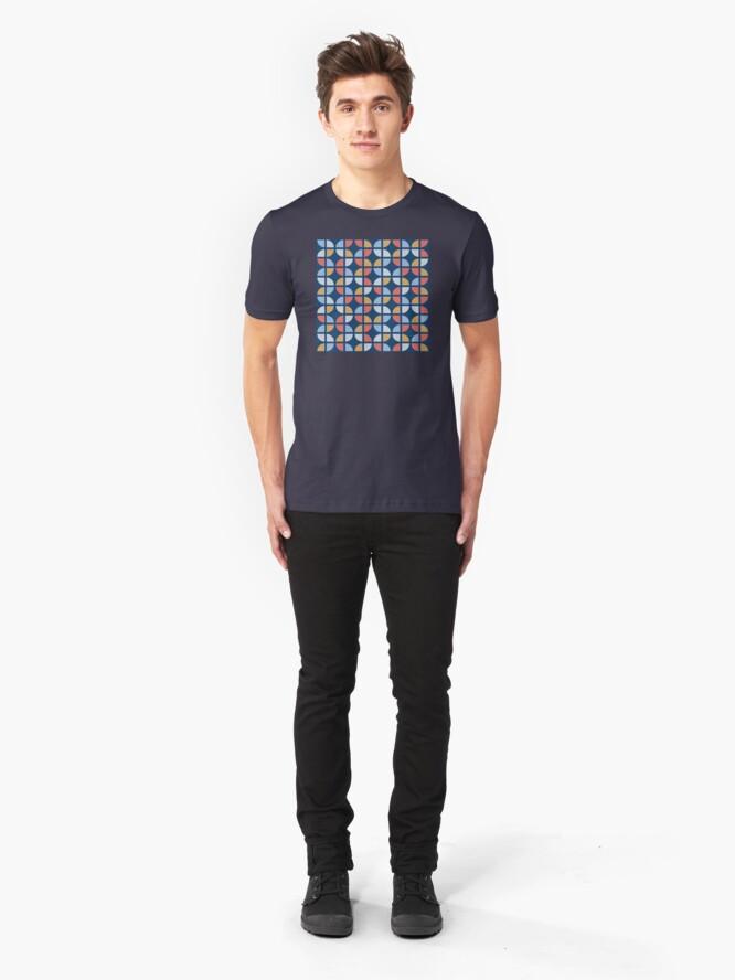 Alternate view of Geometric Pattern: Quarter Circle: Coastal Slim Fit T-Shirt
