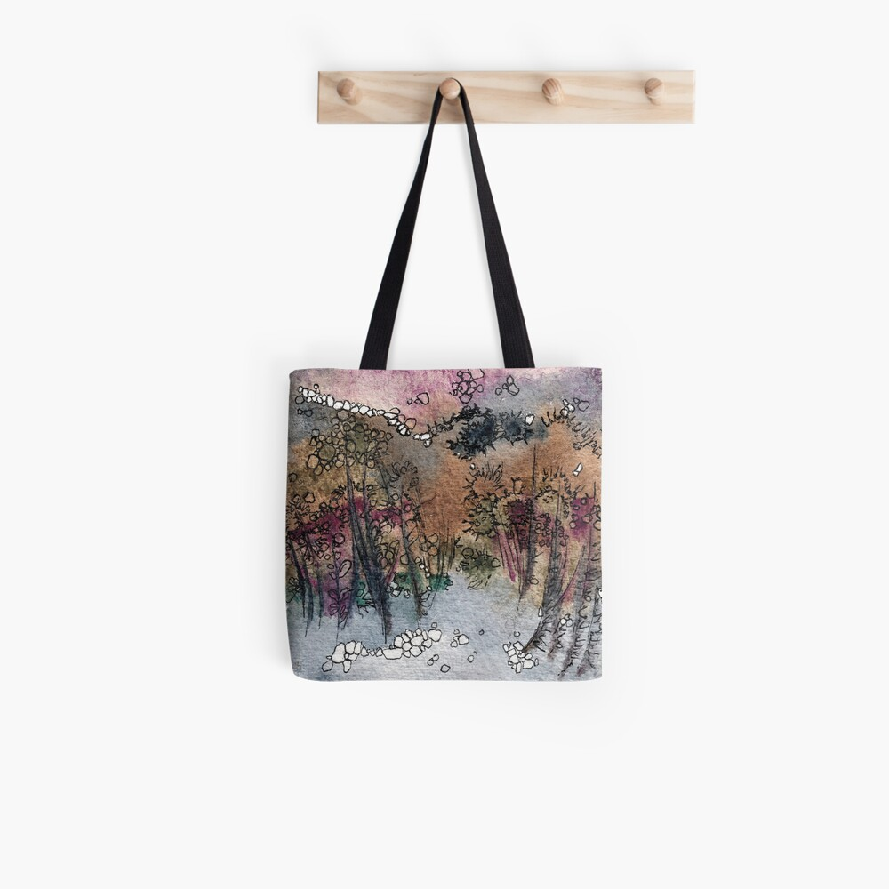 Abstract watercolor design inspired by Tongariro National Park in New Zealand Tote Bag