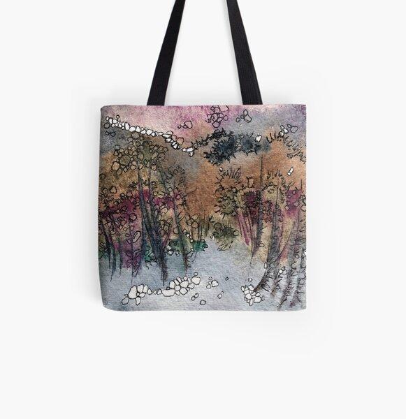 Abstraktes Aquarelldesign inspiriert vom Tongariro National Park in Neuseeland Allover-Print Tote Bag