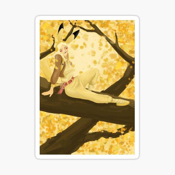 Pikachu gijinka in tree Sticker