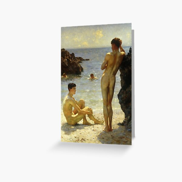 Lovers of the Sun by Henry Scott Tuke Greeting Card
