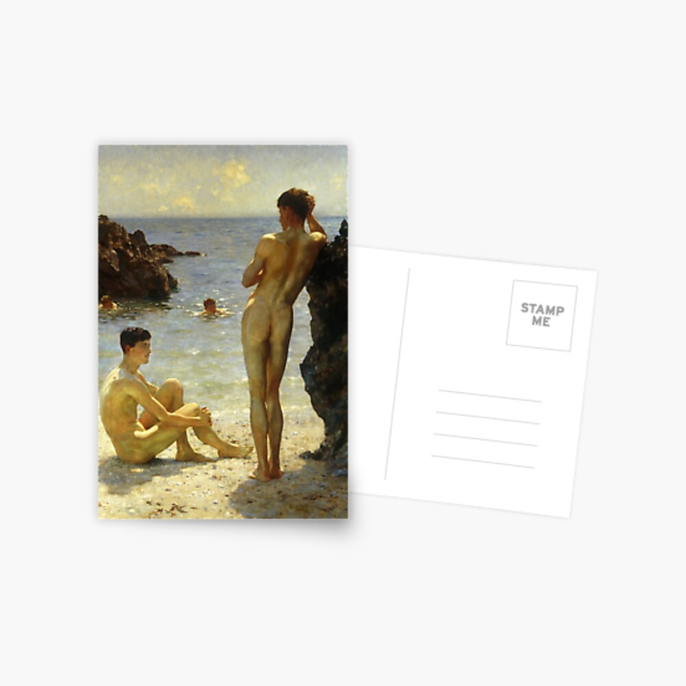 Lovers of the Sun by Henry Scott Tuke Postcard