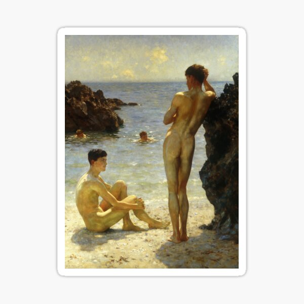 Lovers of the Sun by Henry Scott Tuke Sticker