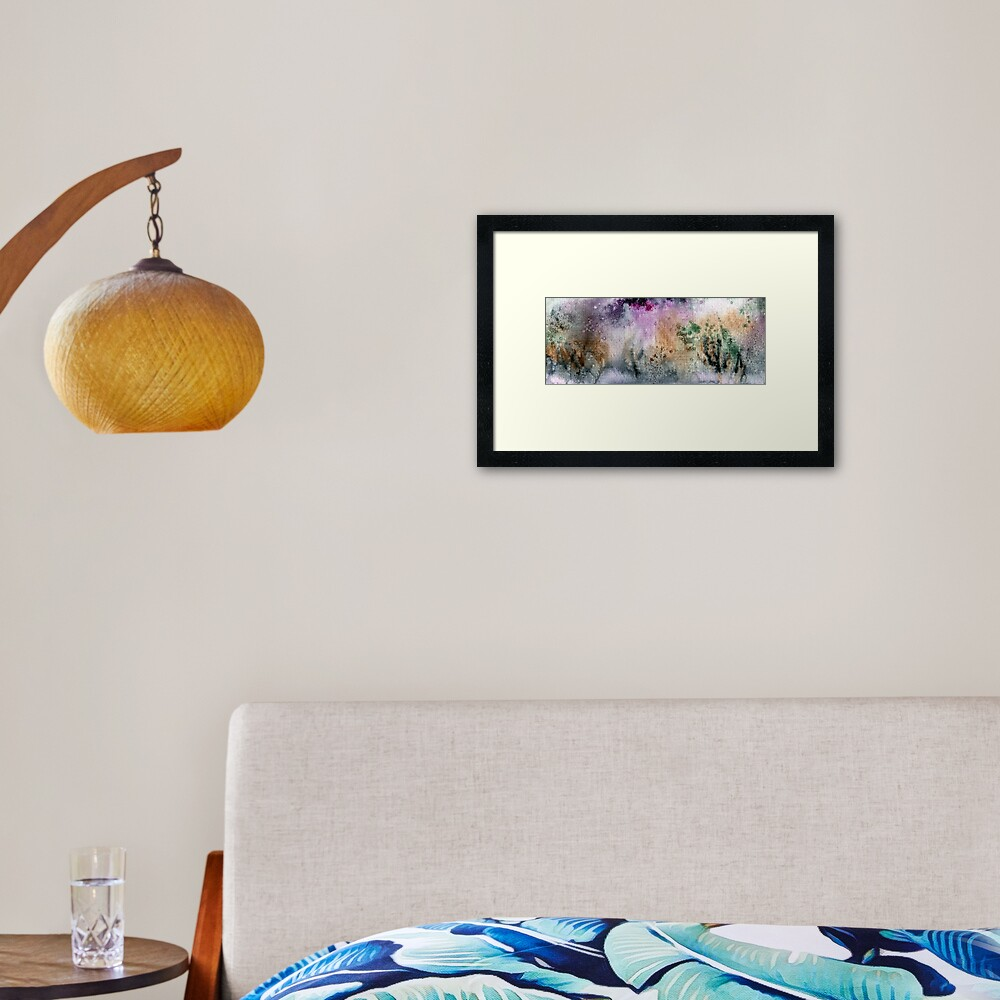 Abstract watercolor design inspired by Tongariro National Park in New Zealand Framed Art Print