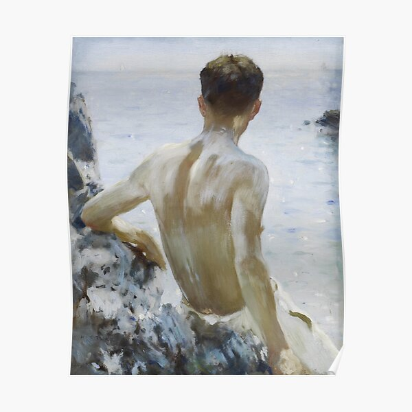 Beach Study by Henry Scott Tuke Poster