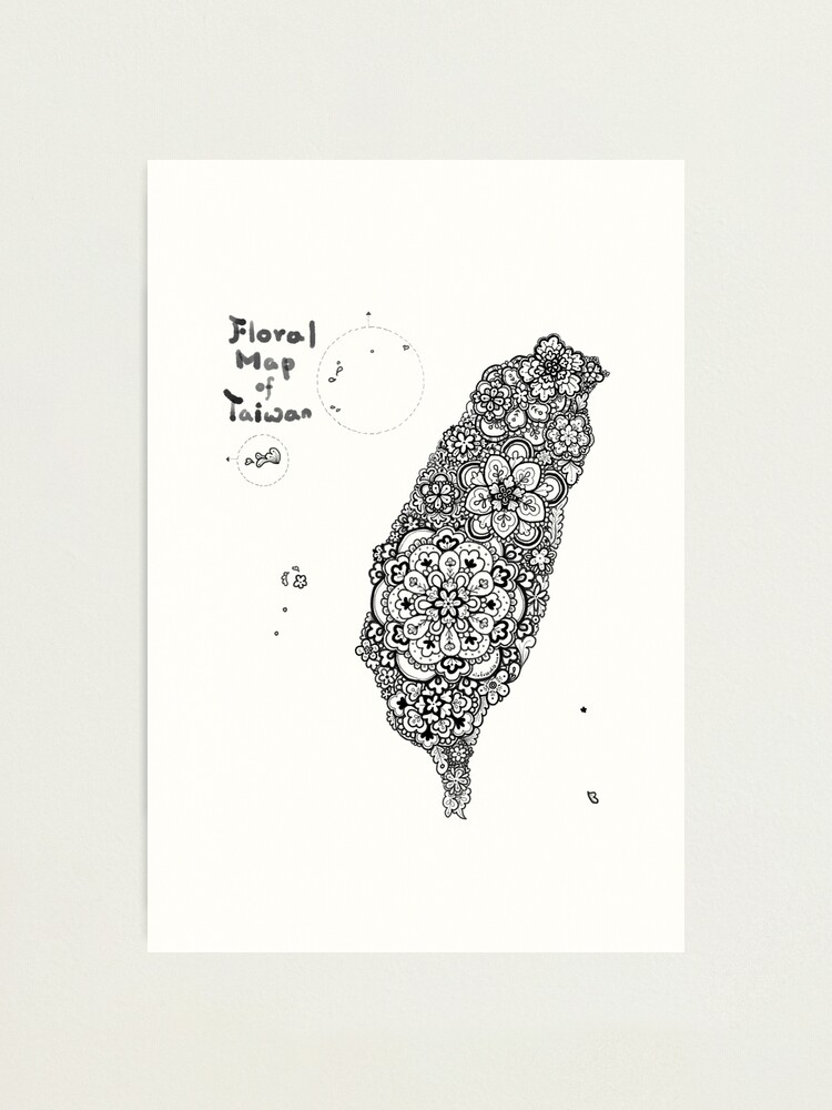Alternate view of Floral map of Taiwan - black Photographic Print