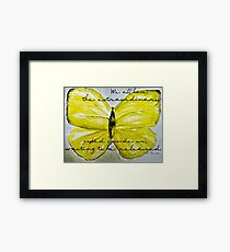 Yellow Buttercup Butterfly with Quote overlay Framed Print