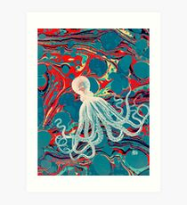 Marbled Paper Octopus Blob by Pepe Psyche Art Print