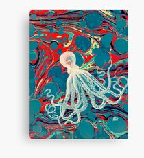 Marbled Paper Octopus Blob by Pepe Psyche Canvas Print