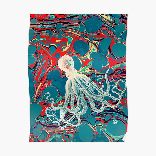 Marbled Paper Octopus Blob by Pepe Psyche Poster