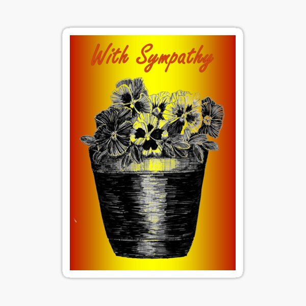 Pansies in a Pot - Sympathy Card  Sticker