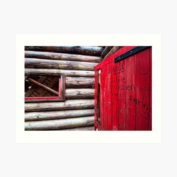Red Door at the Cabin. Art Print
