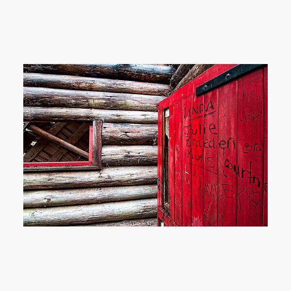Red Door at the Cabin. Photographic Print