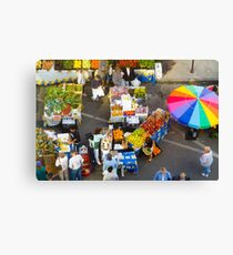 """Colorful Market"" - farmers' market Canvas Print"