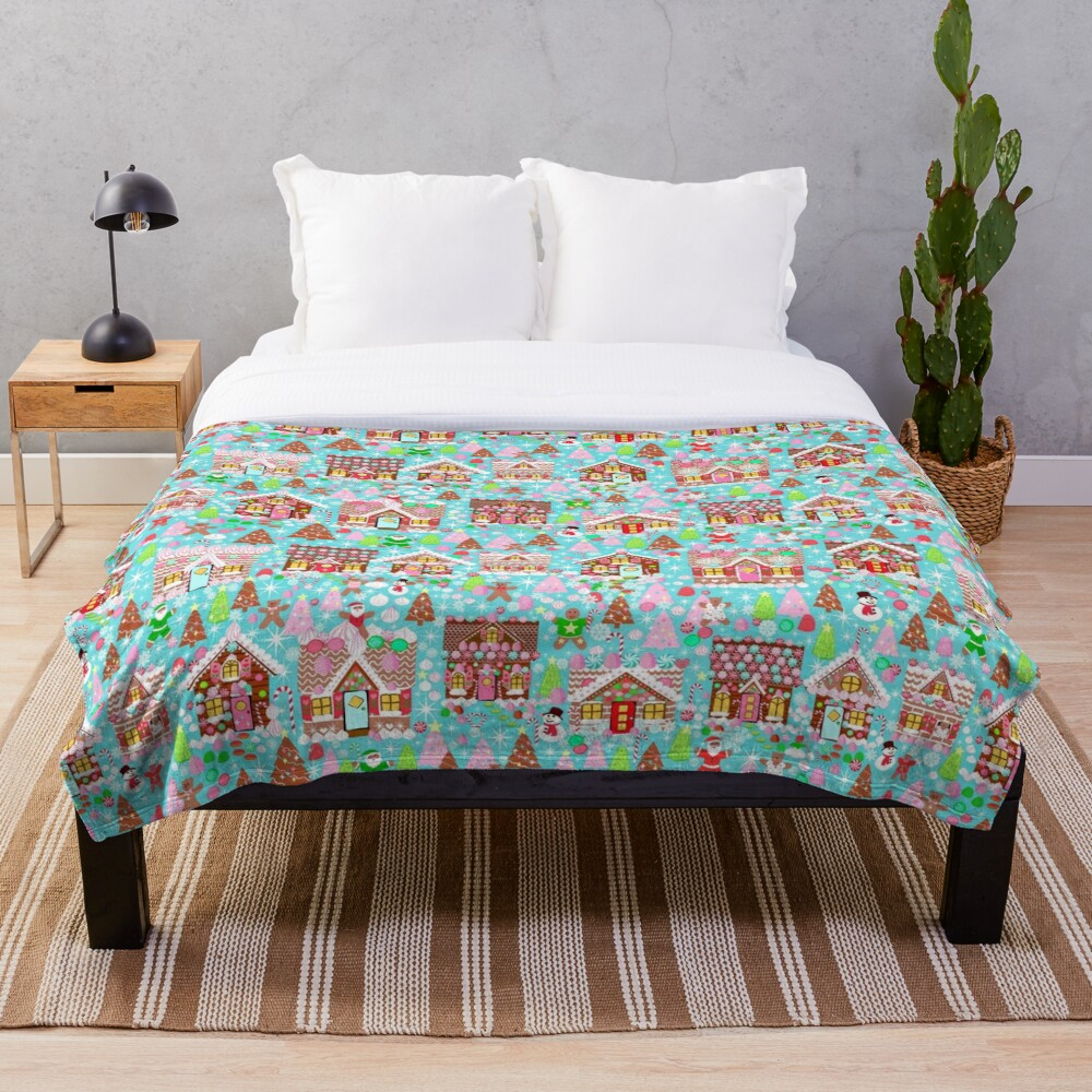 Christmas Gingerbread House, Holiday Village Throw Blanket