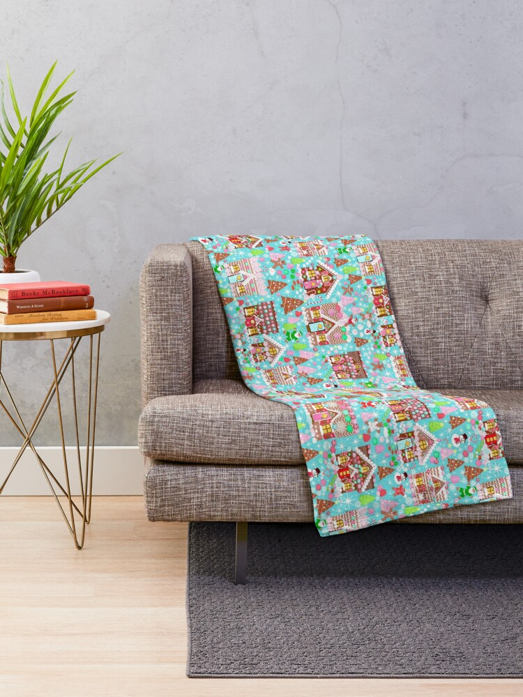 Alternate view of Christmas Gingerbread House, Holiday Village Throw Blanket