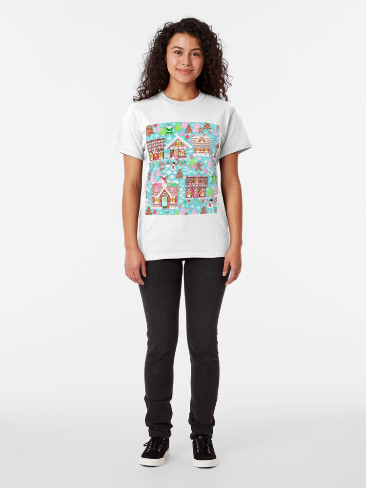 Alternate view of Christmas Gingerbread House, Holiday Village Classic T-Shirt