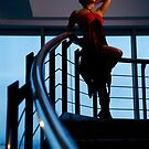 Lady in red (on a staircase) by Kamila  Jerichow