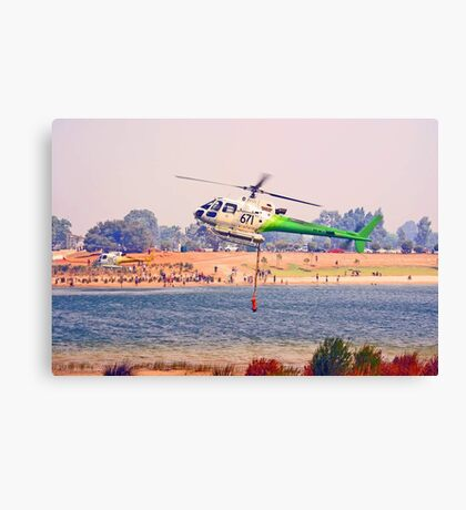 Helitankers At Champion Lakes  Canvas Print