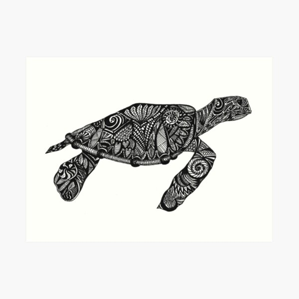 Black ink Turtle with intricate designs Art Print