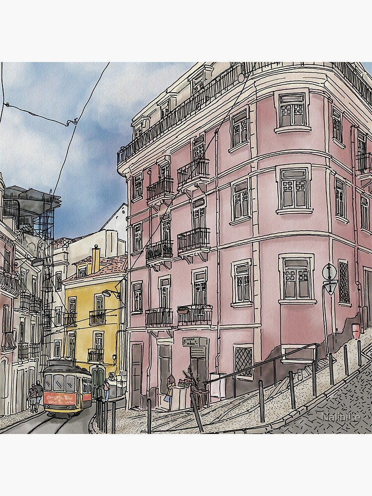 Lisbon street illustration with tram by NaliniLe