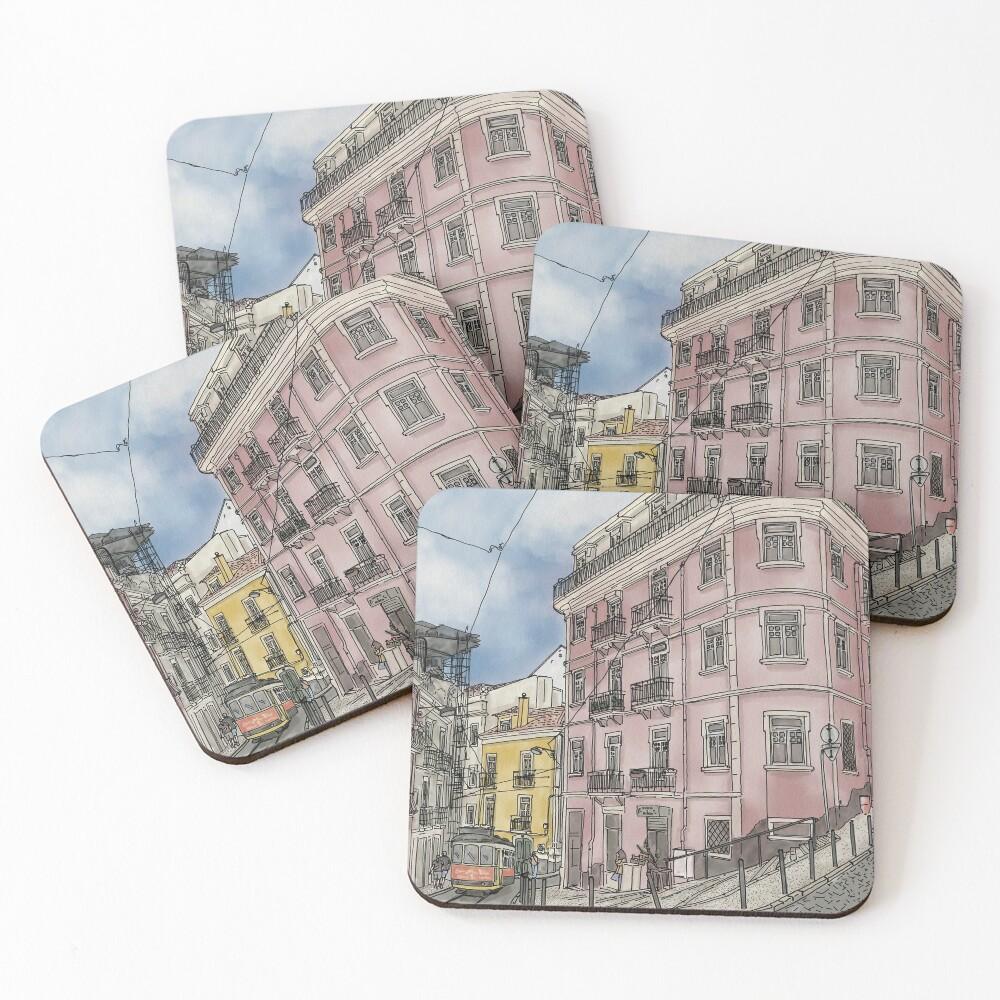 Lisbon street illustration with tram Coasters (Set of 4)