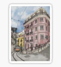 Lisbon street illustration with tram Sticker