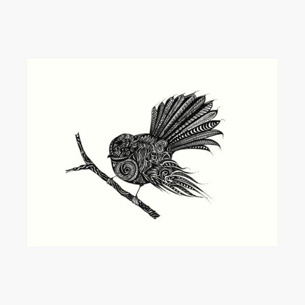 New Zealand Fantail Bird Drawing in Black Ink Art Print