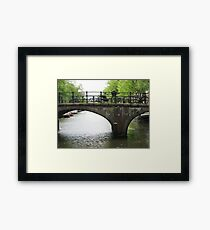 Bicycles Parked on Amsterdam Bridge Framed Print