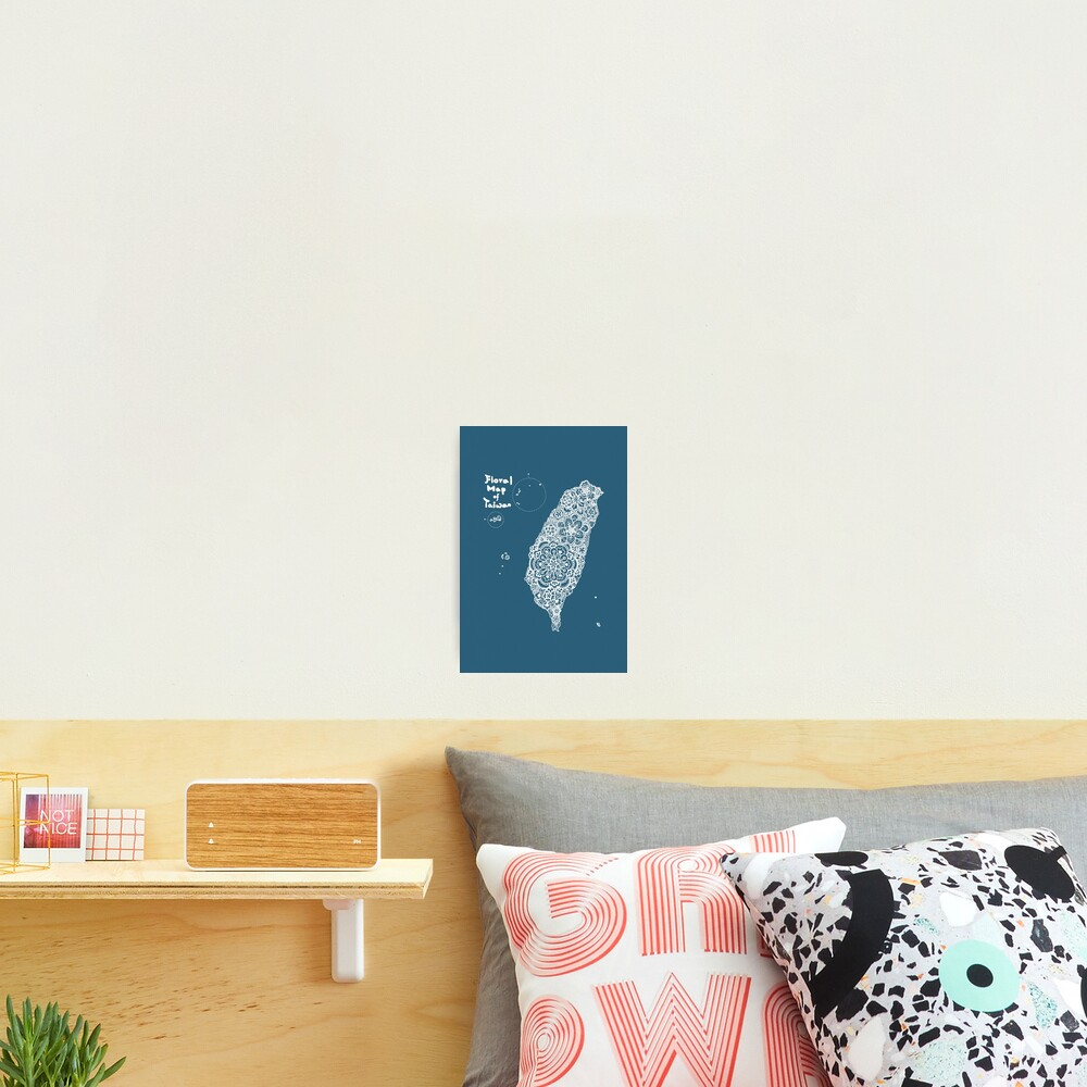 Floral map of Taiwan - white Photographic Print