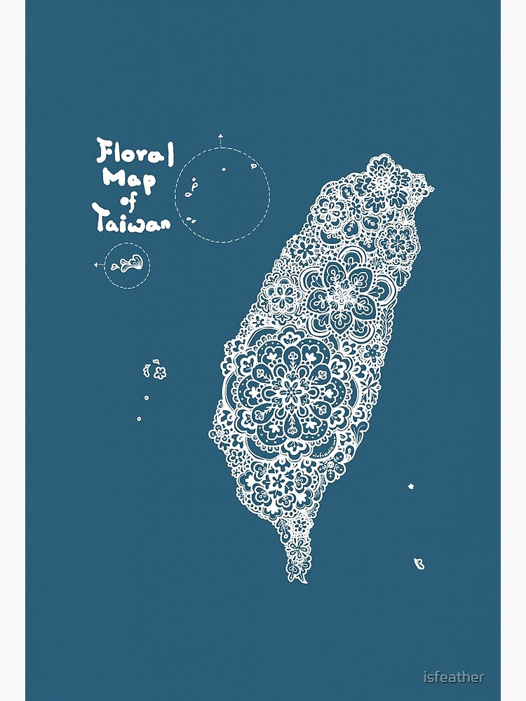 Floral map of Taiwan - white by isfeather