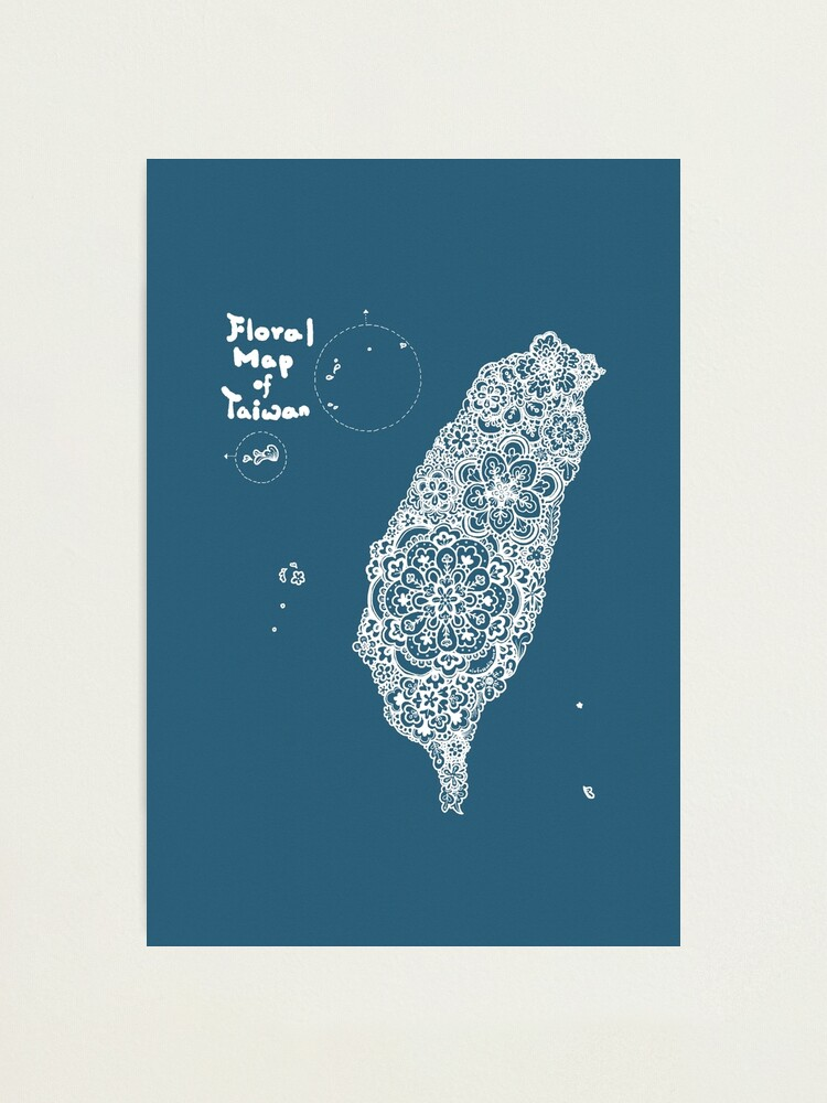 Alternate view of Floral map of Taiwan - white Photographic Print
