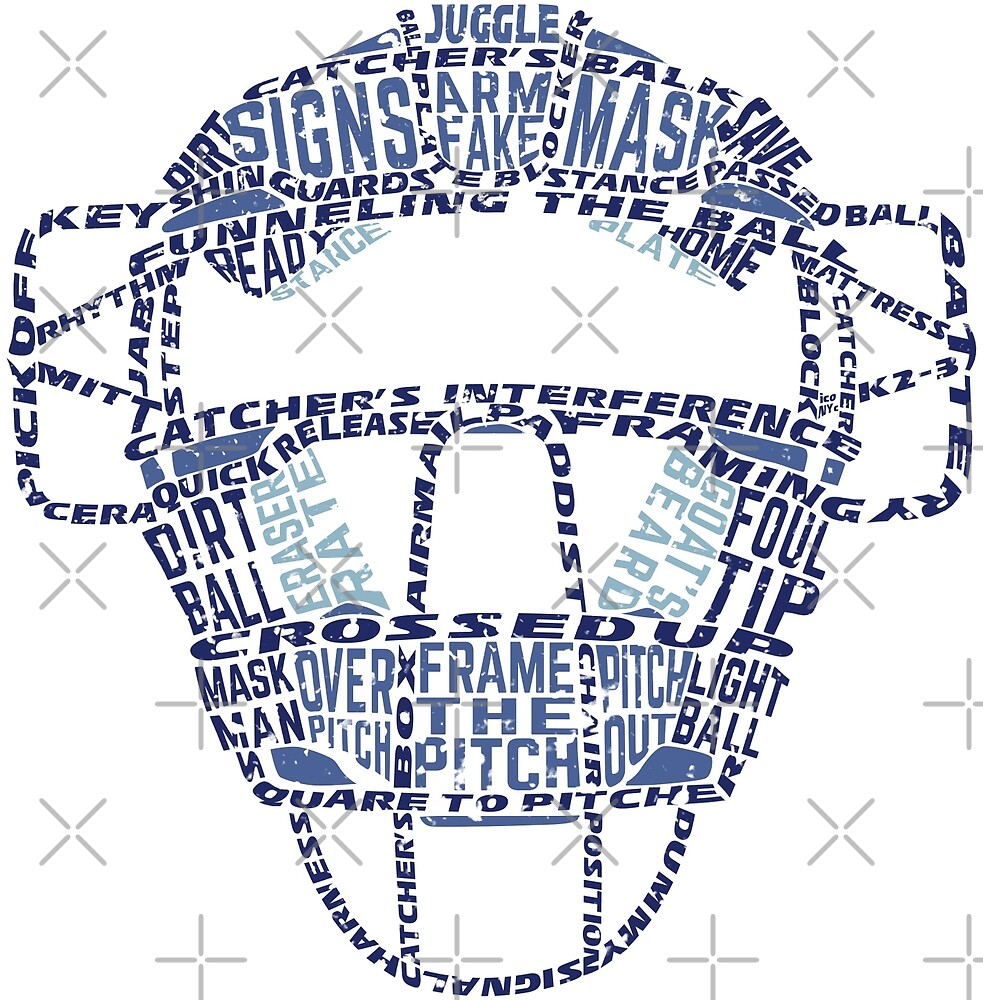 Baseball Catchers Mask Calligram by gamefacegear