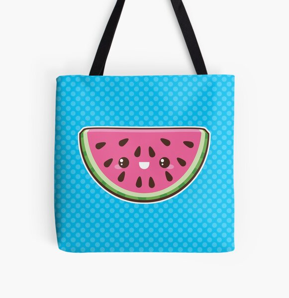 Kawaii Watermelon Slice All Over Print Tote Bag