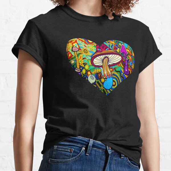 Psychedelic Blacklight Shrooms Rave Heart Classic T-Shirt