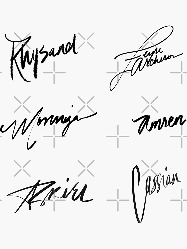 A Court of Thorns and Roses | Character Signatures by omgiavanna