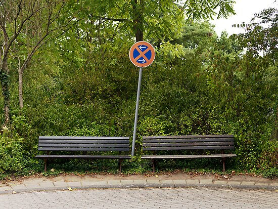 German sign and two benches by David Crausby