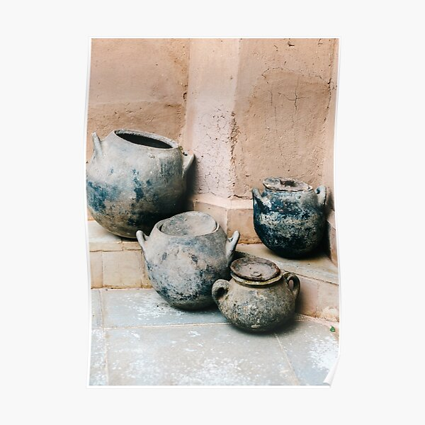Pottery in earth tones | Ourika Marrakech Morocco | Still life photography Poster