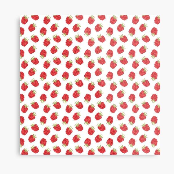 Cute Raspberry Fruit Pattern Metal Print