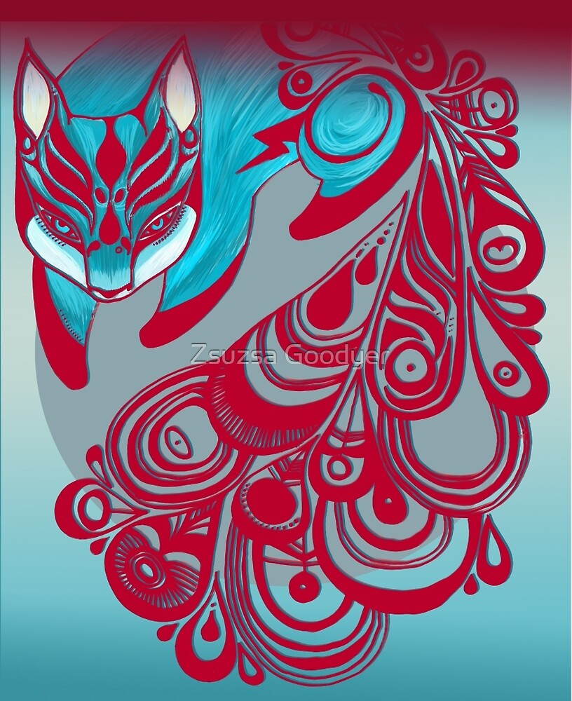 Mr Bold the Feline Fox with a patterned tail by Zsuzsa Goodyer