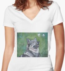 Swedish Vallhund Fine Art Painting Women's Fitted V-Neck T-Shirt