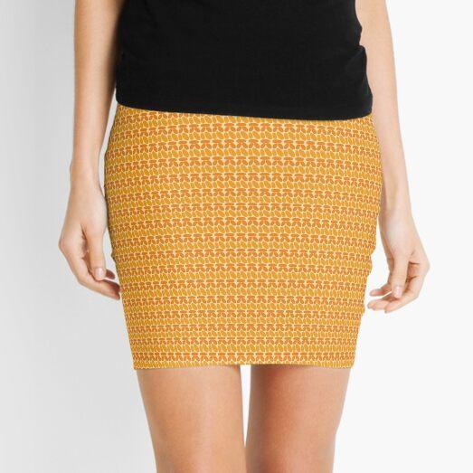 Pseudo crochet pattern in orange and yellow Mini Skirt